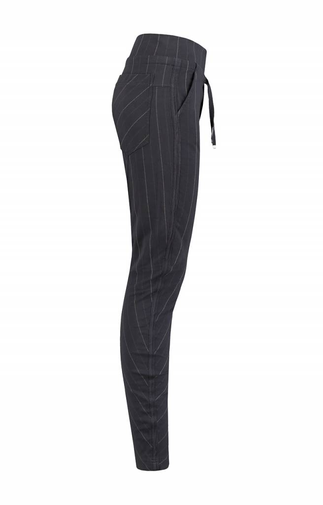 SYLVER Stripe Sweat Trousers back pockets - Donkergrijs