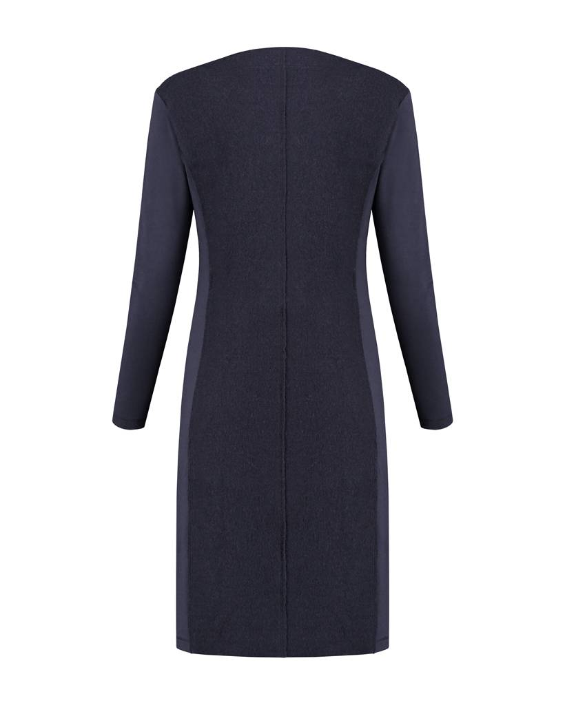 SYLVER Boiled Wool Dress - Donkerblauw