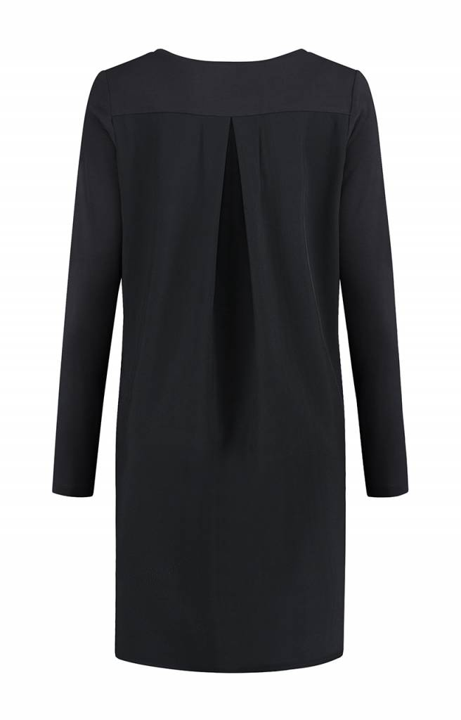 SYLVER Silky Poly Twill Blouse long - Charcoal