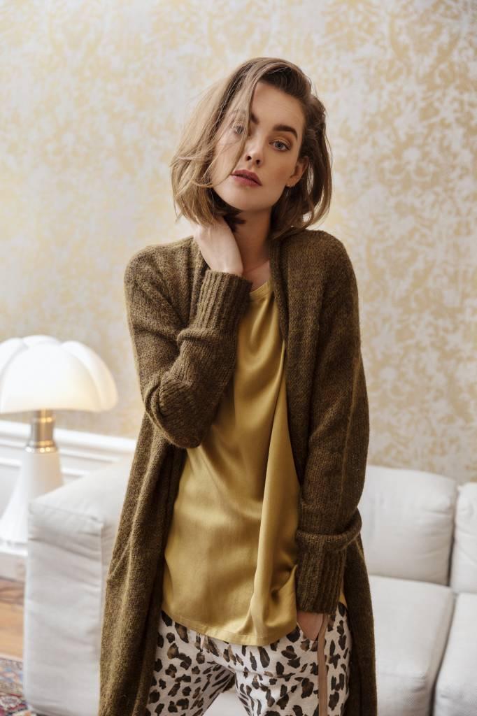 SYLVER Washed Silk Shirt - Dark Gold