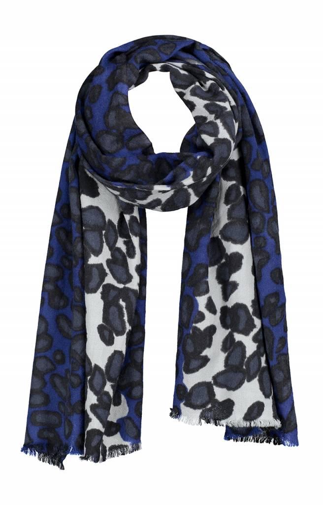 SYLVER Shawl Animal Stripe - Donkerblauw