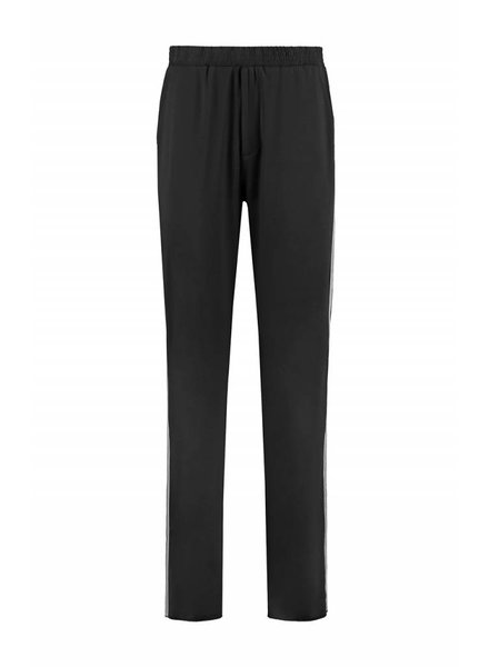 SYLVER Silky Jersey Trousers Coloured Tape - Zwart