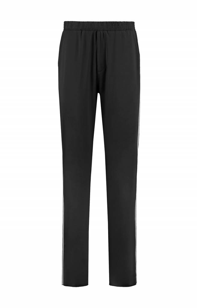 SYLVER Silky Jersey Trousers Coloured Tape - Black