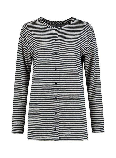 SYLVER Slub Stripe Cardigan/Shirt - Navy