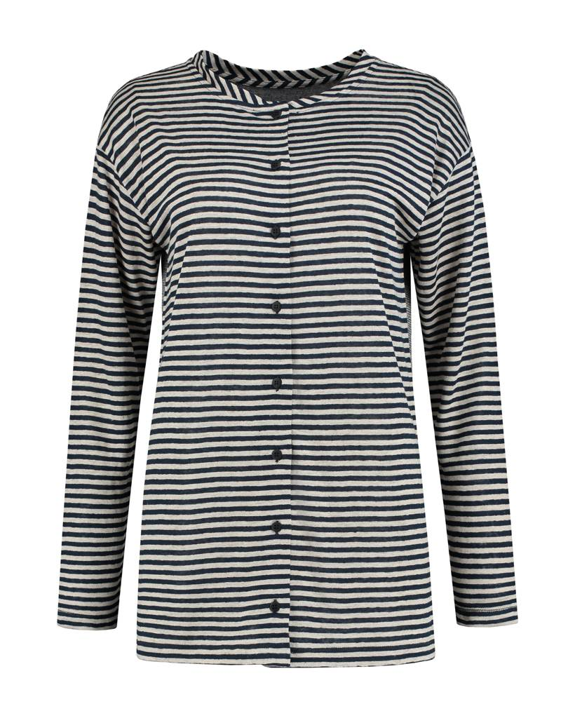 SYLVER Slub Stripe Cardigan/Shirt - Navy