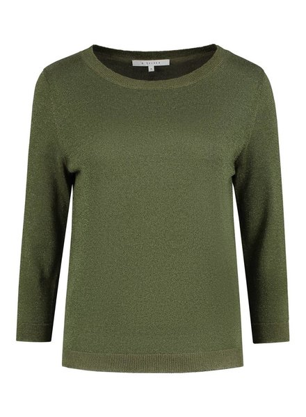 SYLVER Metallic Pullover - Bright Olive