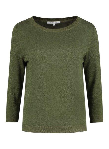 SYLVER Metallic Pullover - Olijfgroen