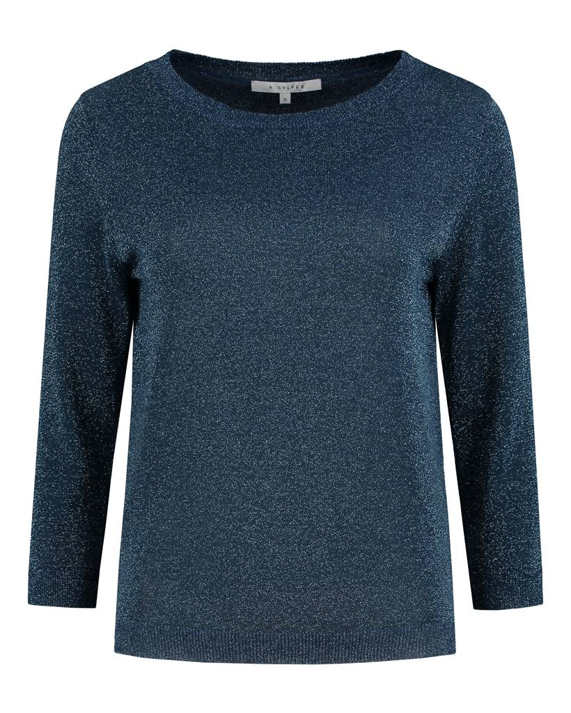 SYLVER Metallic Pullover - Donkerblauw