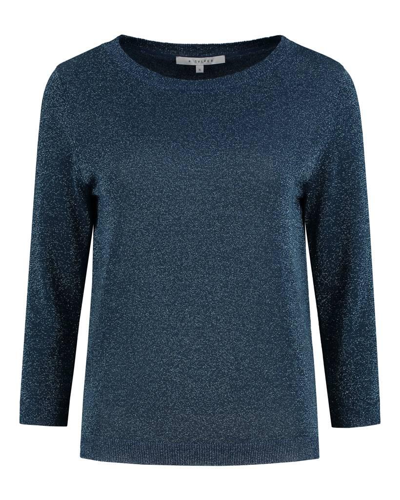 SYLVER Metallic Pullover - Indigo