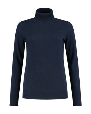 SYLVER Cashmere Mix Pull Collar - Marineblauw