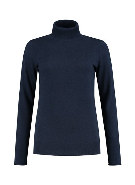 SYLVER Cashmere Mix Pull Collar - Navy