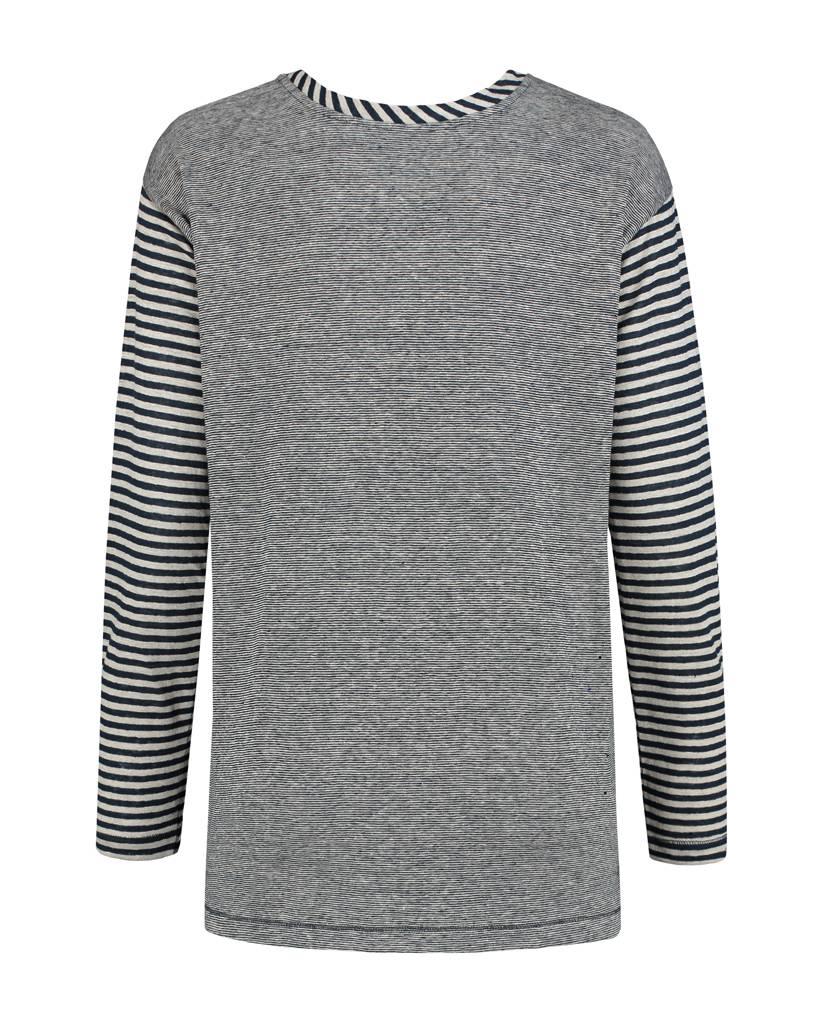 SYLVER Slub Stripe Cardigan/Shirt - Marineblauw