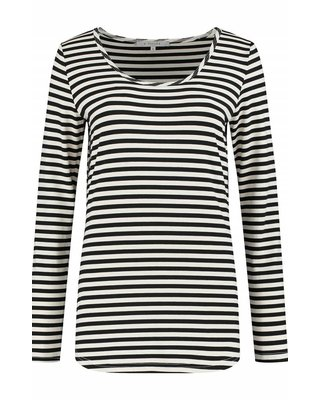 SYLVER Stripe T-shirt long sleeve - Zwart