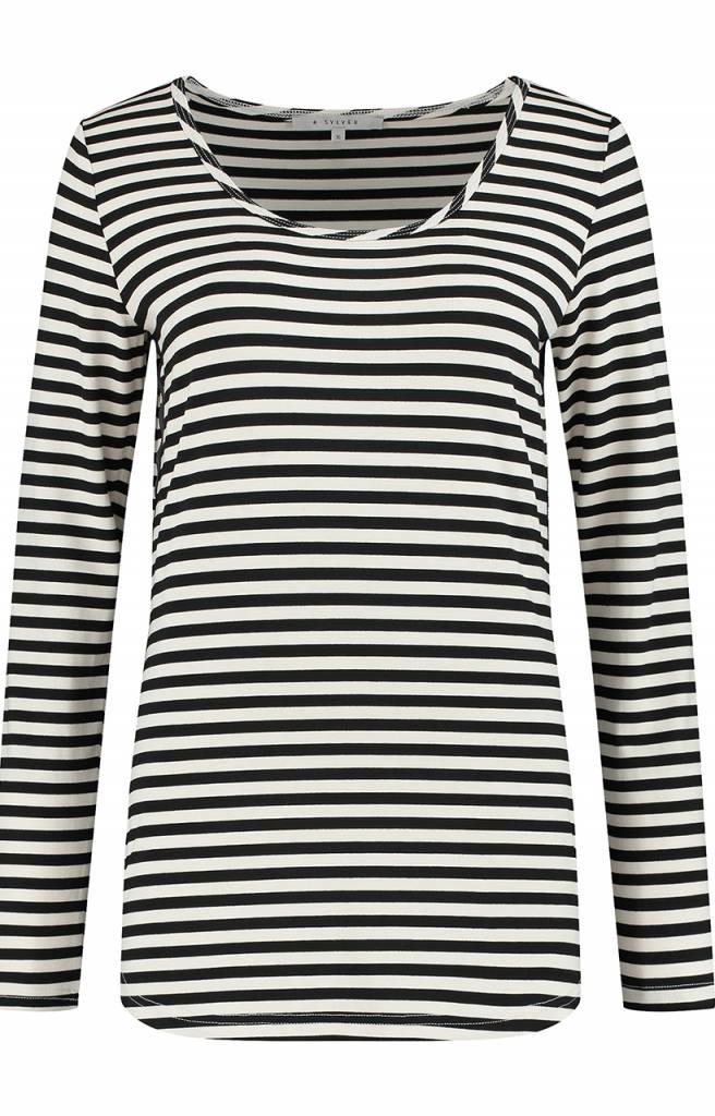 SYLVER Stripe T-shirt long sleeve - Zwart