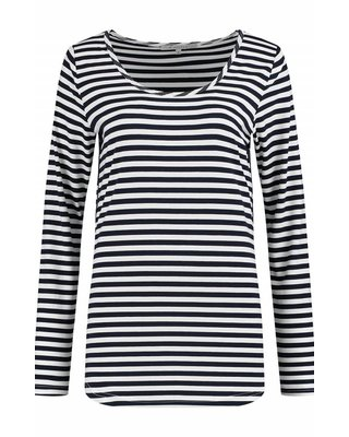 SYLVER Stripe T-shirt long sleeve - Marineblauw