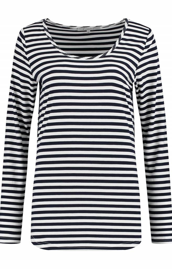 SYLVER Stripe T-shirt long sleeve - Marineblauw