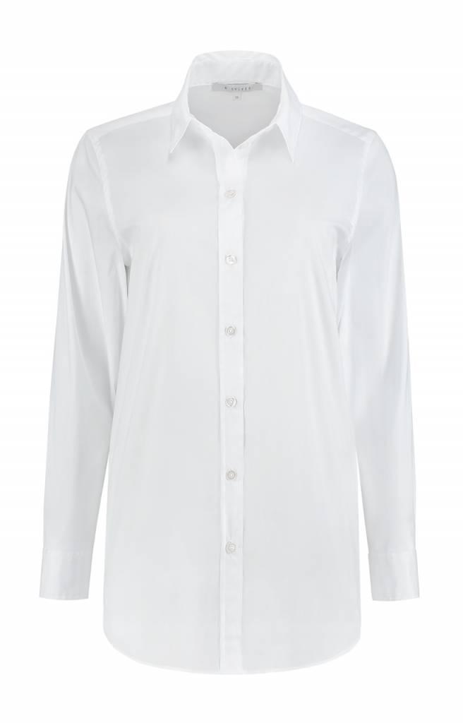 SYLVER Stretch Cotton Blouse - Wit