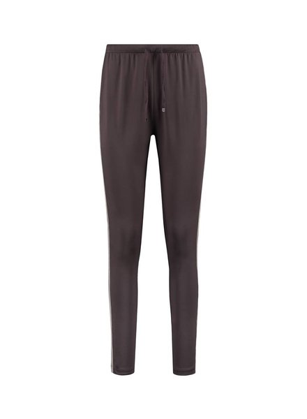 SYLVER Silky Jersey Pants Striped Tape - Chocolate