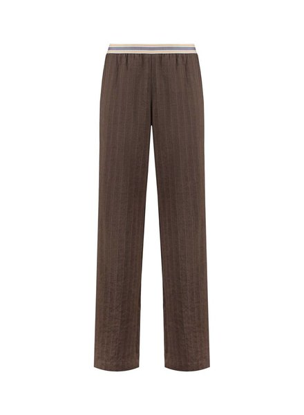 SYLVER Structure Stripe Trousers - Bruin