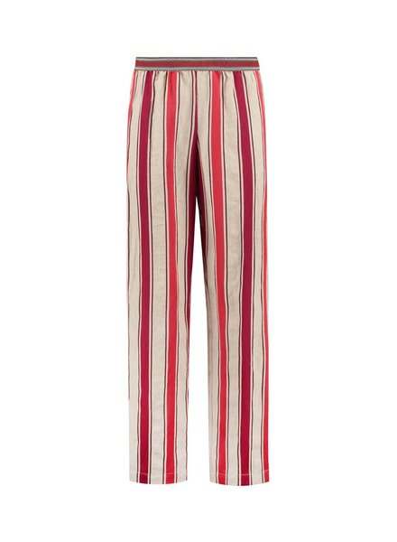 SYLVER Big Stripe Trousers - Donkerrood