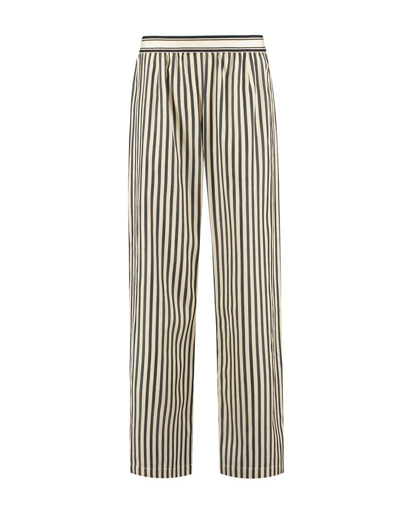 SYLVER Black Stripe Trousers - Cream