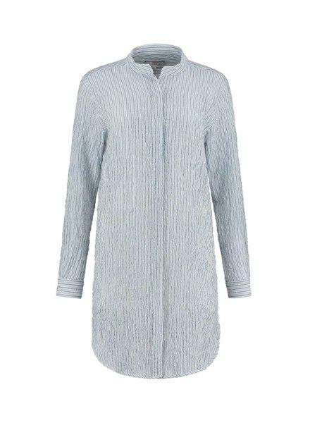 SYLVER Fine Stripe Blouse - Grey Blue