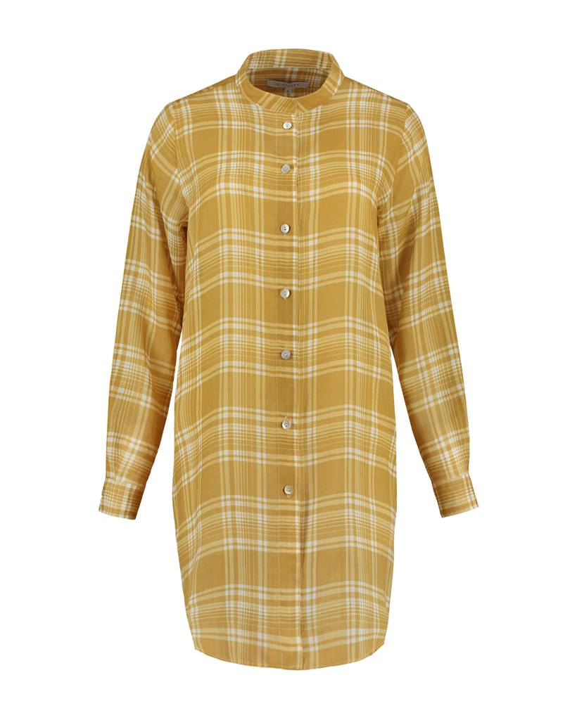 SYLVER Check Blouse Long Sleeve - Ochre