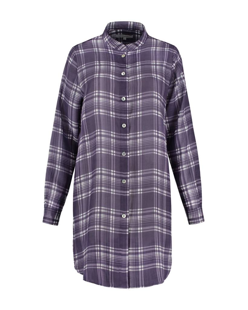 SYLVER Check Blouse Long Sleeve - Donkerpaars