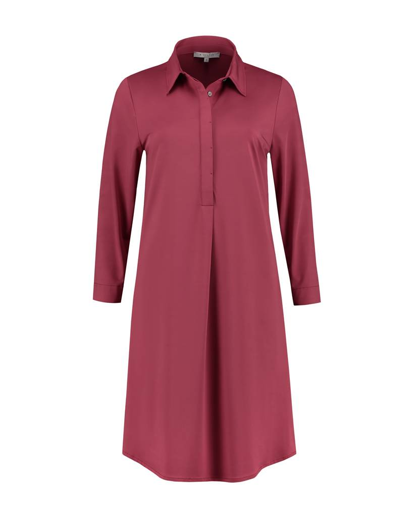 SYLVER Silky Jersey Dress Collar - Donkerrood