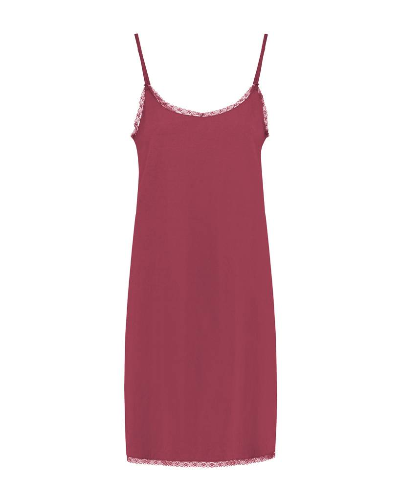 SYLVER Silky Jersey Slip dress - Donkerrood