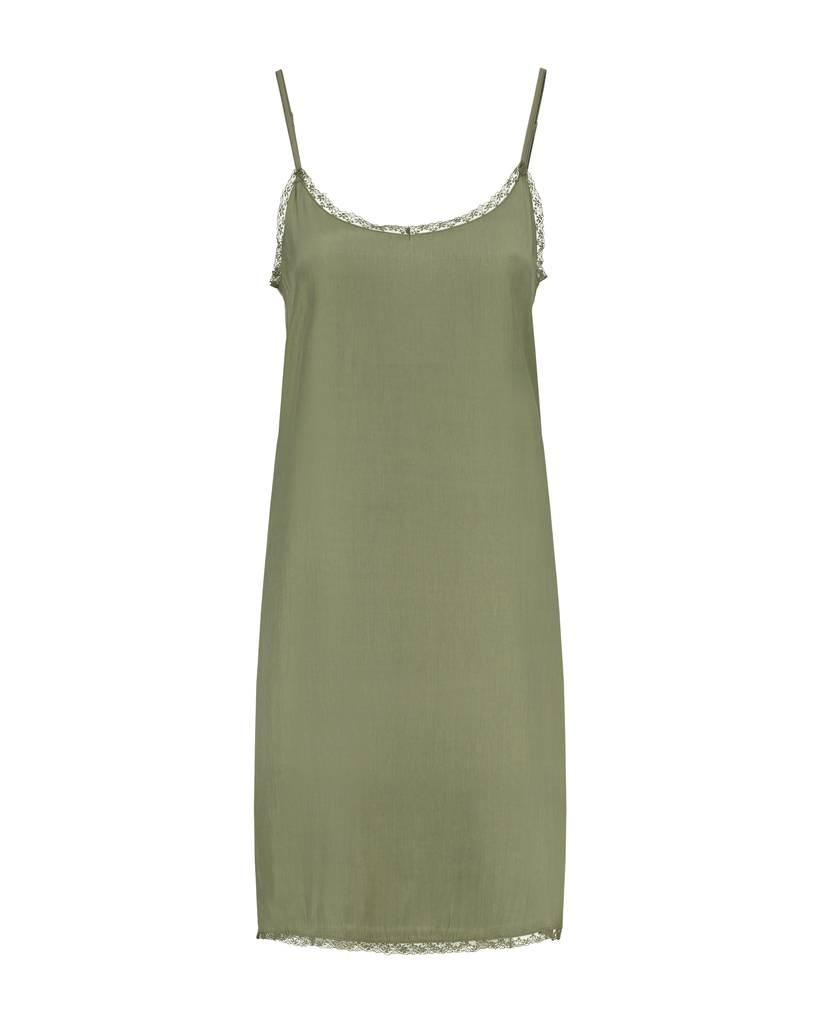 SYLVER Silky Jersey Slip dress - Legergroen