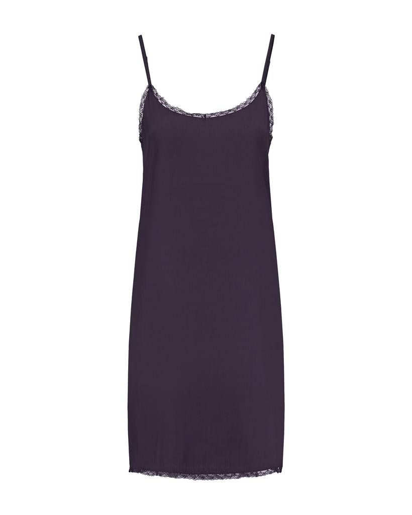 SYLVER Silky Jersey Slip dress - Donkerpaars
