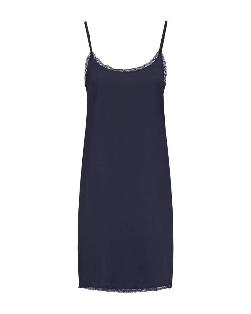 SYLVER Silky Jersey Slip dress - Donkerblauw