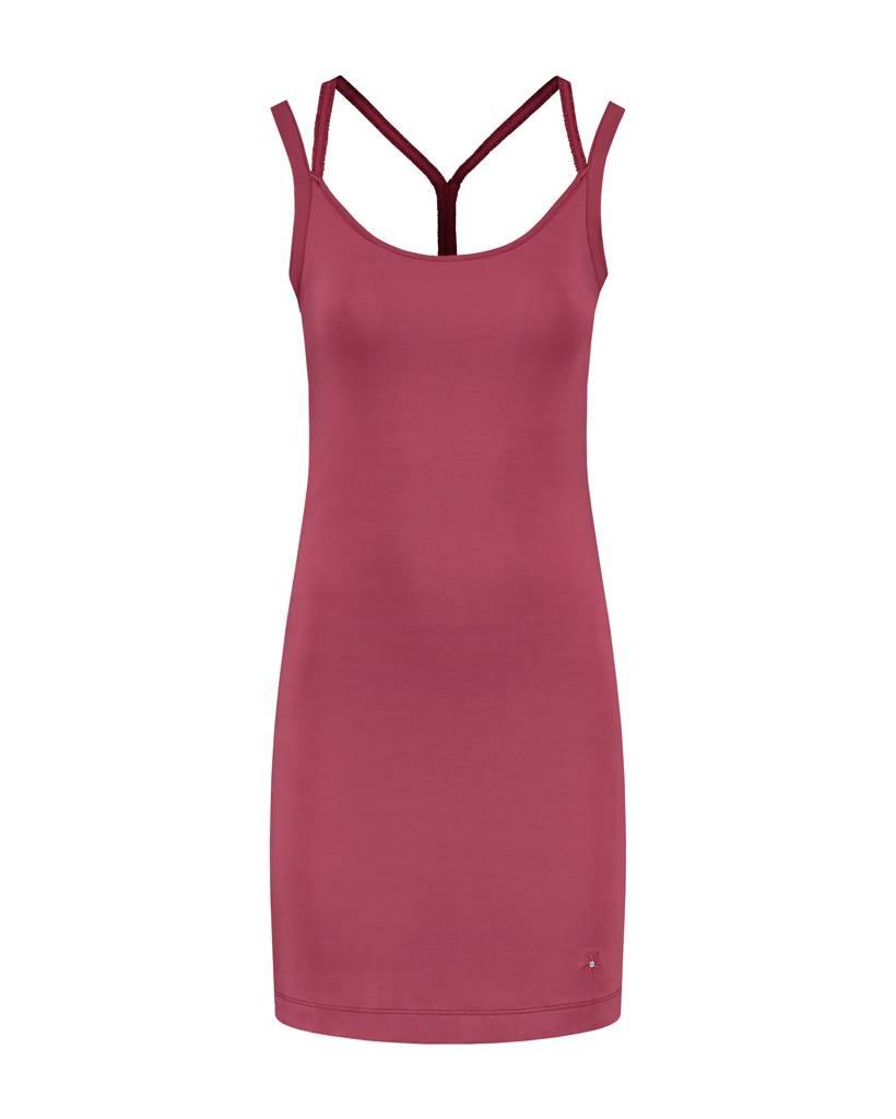 SYLVER Cotton Elasthane Dress Crossed - Donkerrood