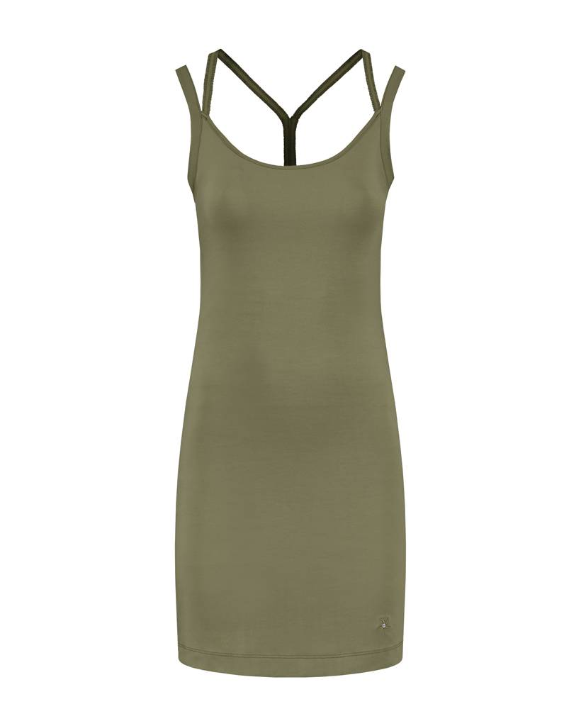 SYLVER Cotton Elasthane Dress Crossed - Army