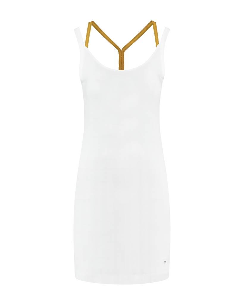 SYLVER Cotton Elasthane Dress Crossed - Okergeel