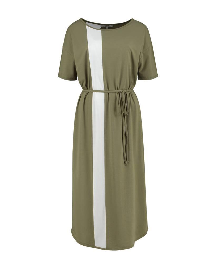 SYLVER Cotton Elasthane Dress Long - Army