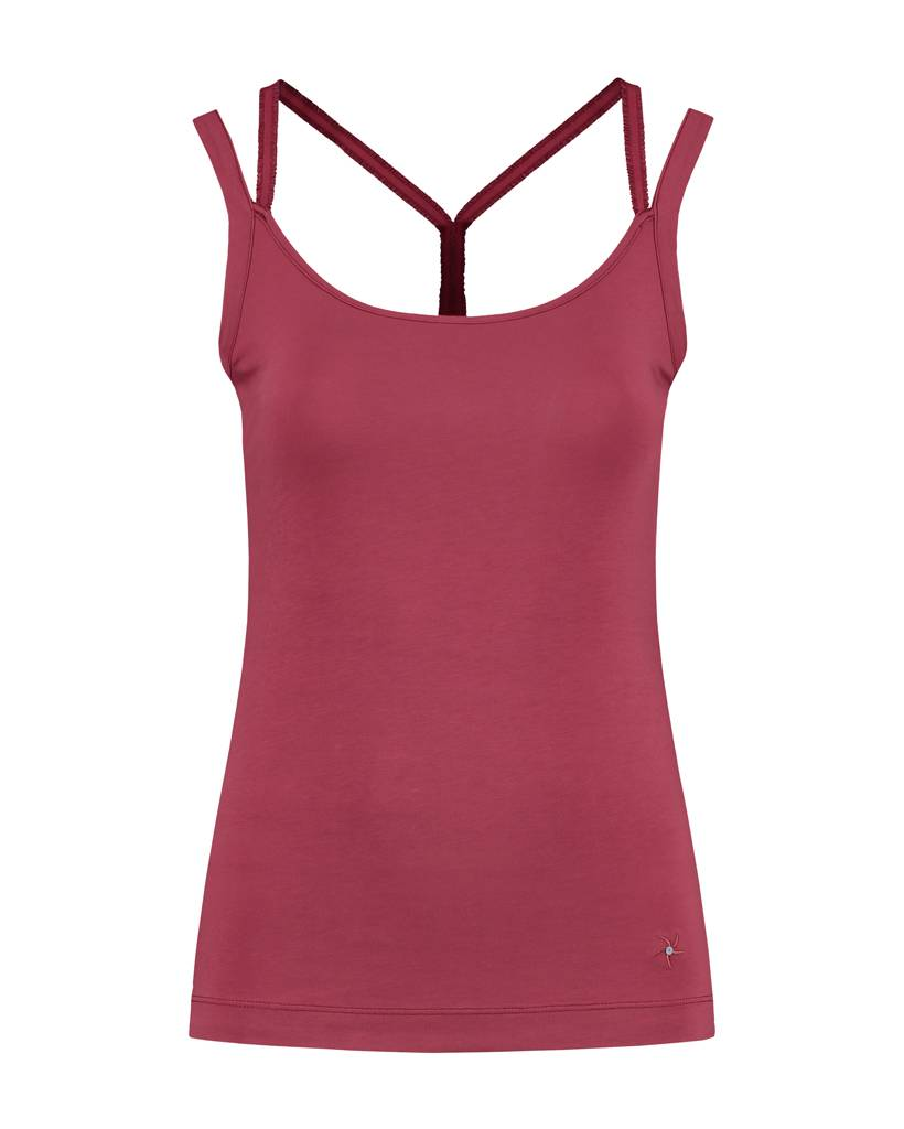 SYLVER Cotton Elasthane Top Crossed - Warm Red