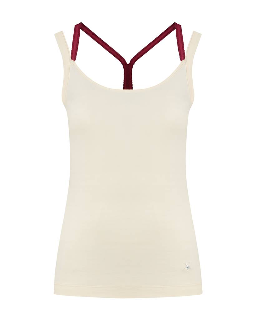 SYLVER Cotton Elasthane Top Crossed - Donkerrood