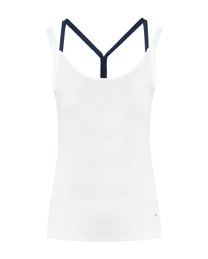 SYLVER Cotton Elasthane Top Crossed - Donkerblauw