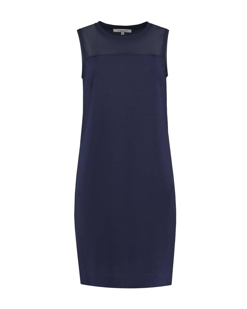 SYLVER Light Slub Dress - Donkerblauw