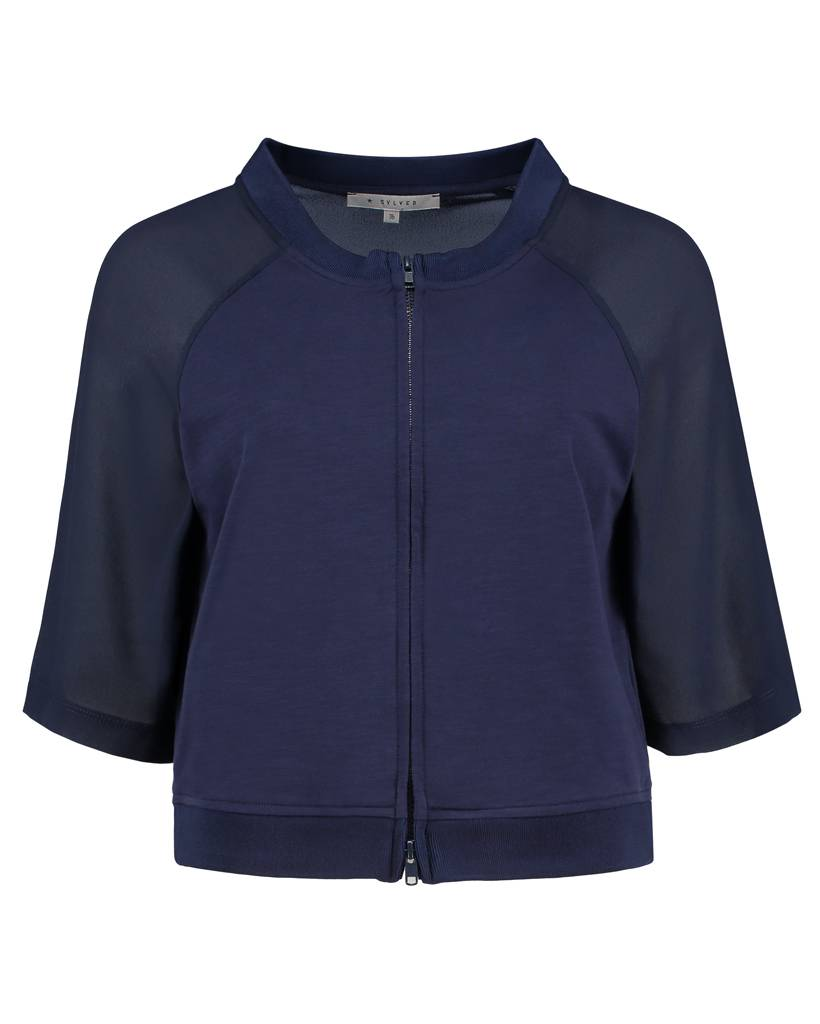 SYLVER Light Slub Jacket - Donkerblauw