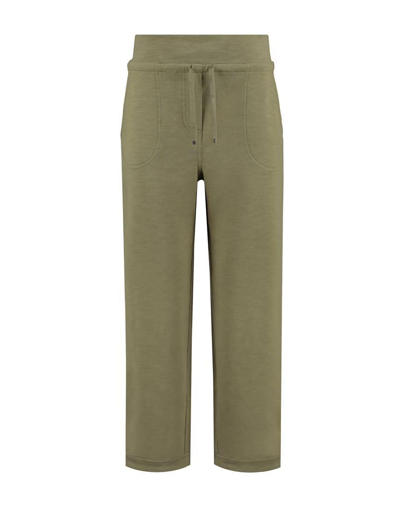 SYLVER Light Slub Trousers Wide - Legergroen