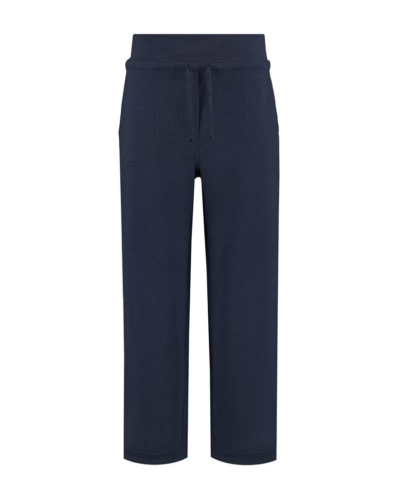SYLVER Light Slub Trousers Wide - Donkerblauw