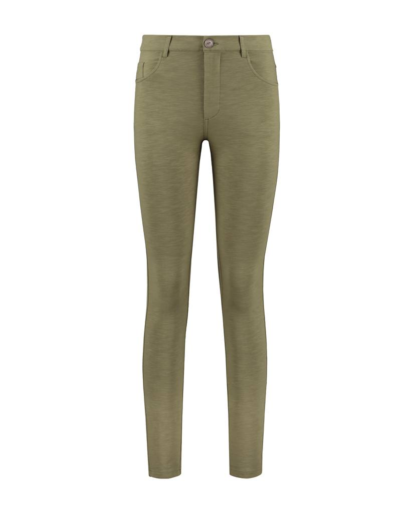 SYLVER Light Slub Trousers 5-pocket - Army