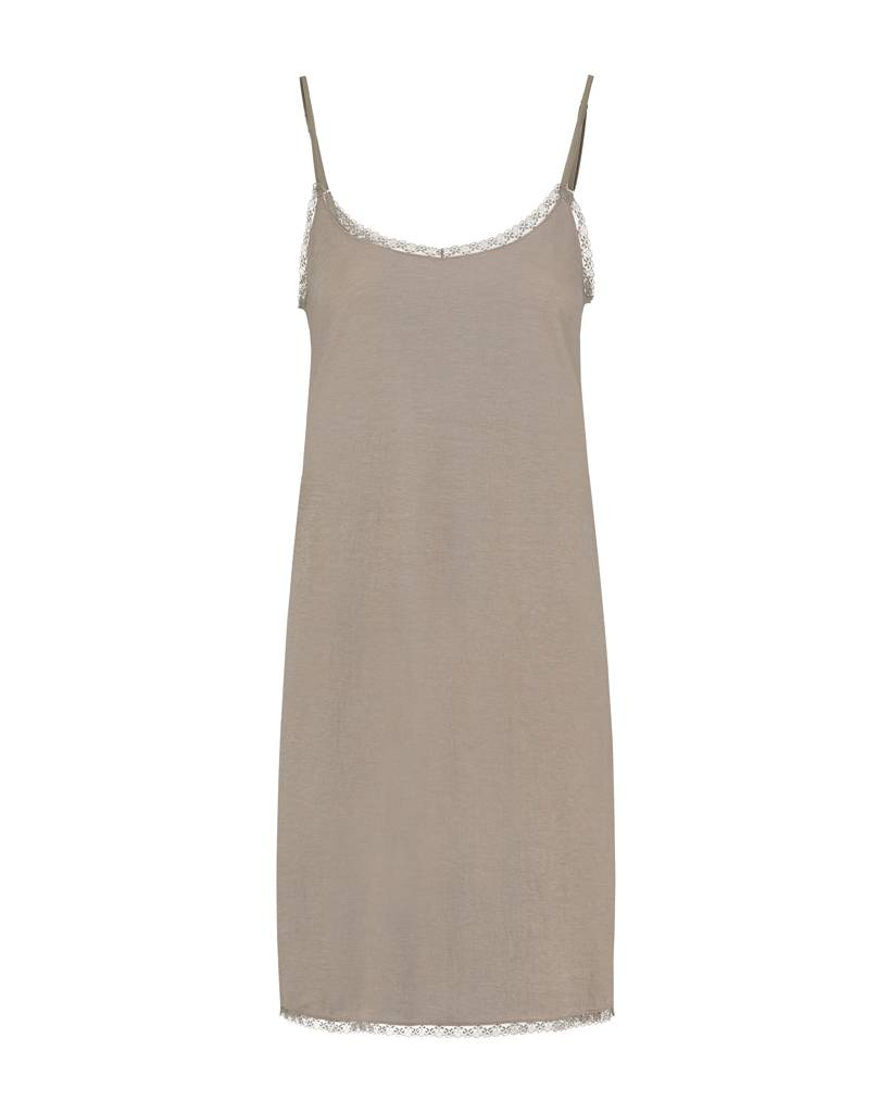 SYLVER Stretch Crêpe Slip Dress - Zand