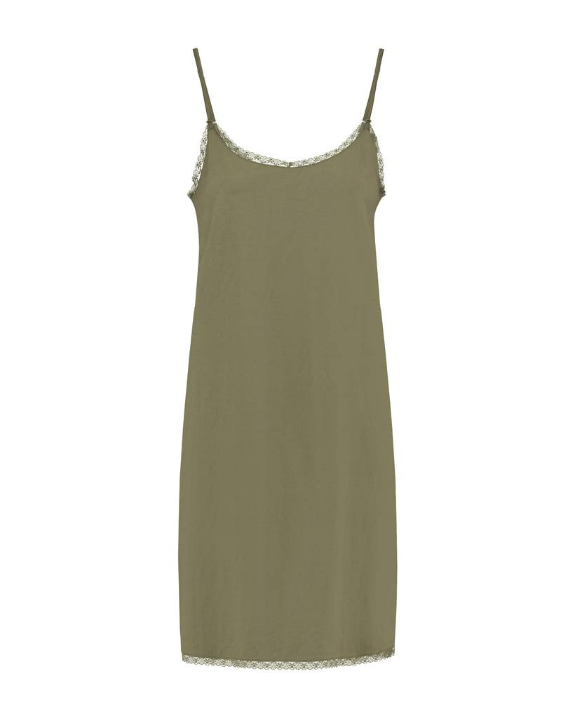 SYLVER Stretch Crêpe Slip Dress - Army