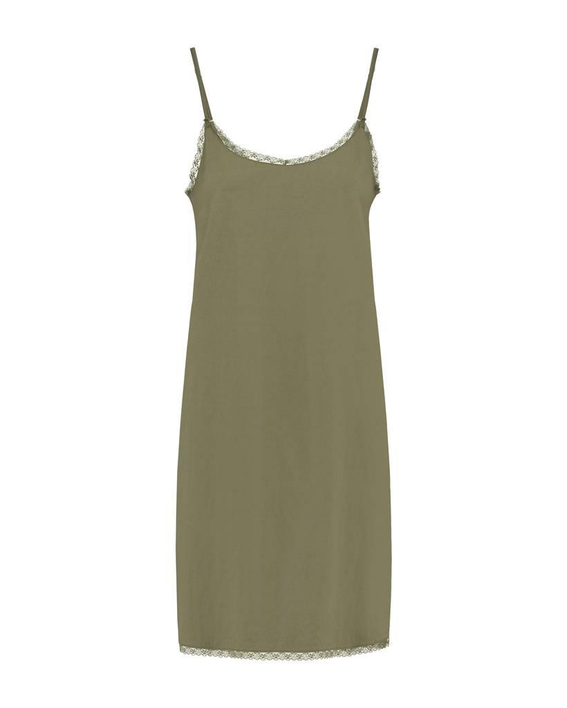 SYLVER Stretch Crêpe Slip Dress - Legergroen