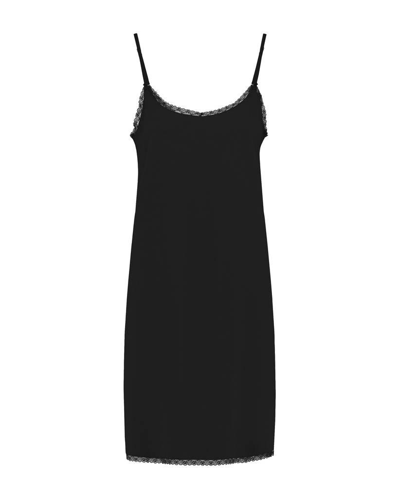 SYLVER Stretch Crêpe Slip Dress - Zwart