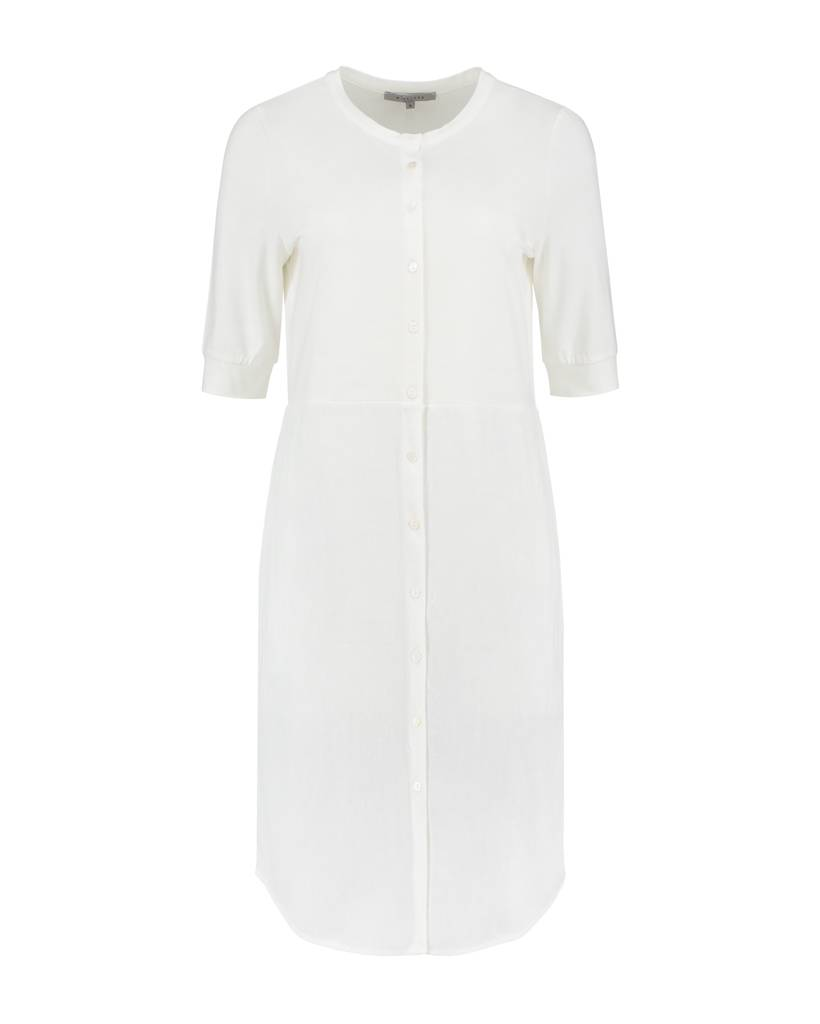SYLVER Stretch Crêpe Blouse Dress - Gebroken wit